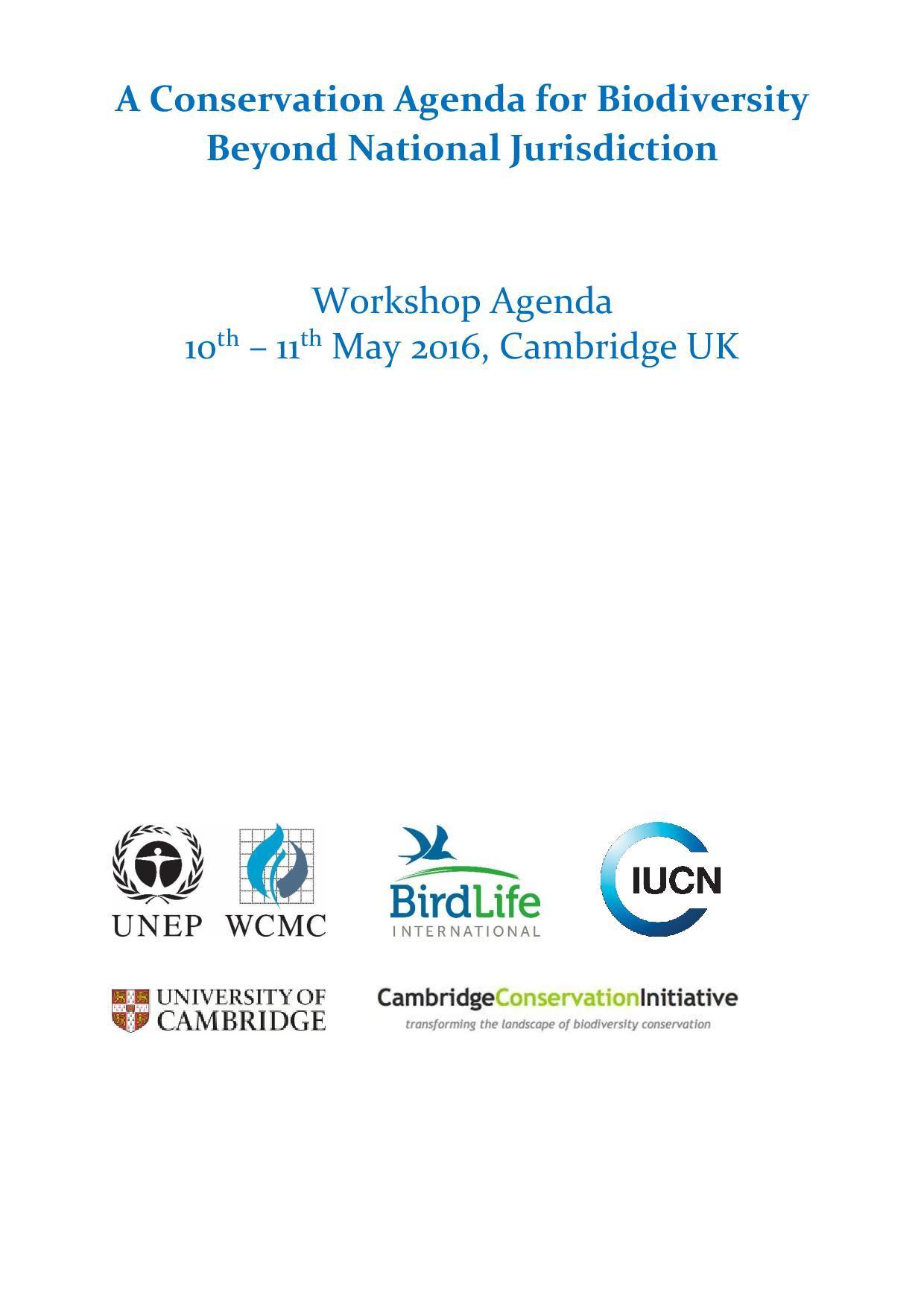 A Conservation Agenda for Biodiversity - Beyond National Jurisdiction